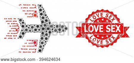 Vector Mosaic Aircraft Of Virus, And Love Sex Dirty Ribbon Watermark. Virus Cells Inside Aircraft Mo