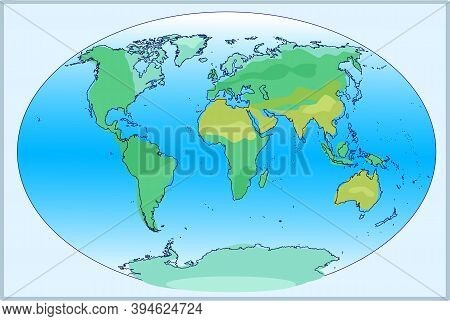 Complete Planisphere Of The World. Vector Illustration.