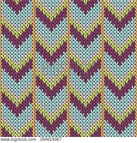 Close Up Downward Arrow Lines Knitting Texture Geometric Seamless Pattern. Scarf Knit Effect Ornamen