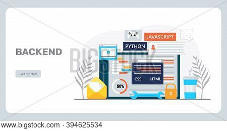 Web Developer Workplace Concept Vector For Landing Page. Construction Of Website And Writes Code. So
