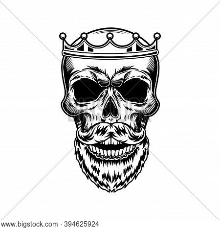 Skull Of King With Beard Vector Illustration. Head Of Skeleton In Royal Crown. Monarchy Or Jewelry C