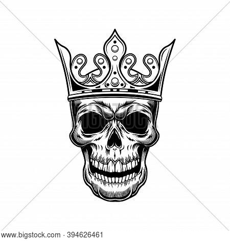 Skull Of Prince Vector Illustration. Head Of Skeleton In Royal Crown With Gem. Monarchy Or Jewelry C