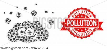 Vector Mosaic Co2 Gas Emission Of Virus, And Pollution Rubber Ribbon Stamp Seal. Virus Particles Ins