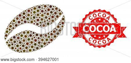 Vector Collage Cacao Bean Of Sars Virus, And Cocoa Dirty Ribbon Stamp. Virus Particles Inside Cacao