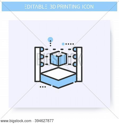 3d Scanner Line Icon. Prototyping Process. Prototype Analyzing Machine. Additive Manufacturing, Fabb
