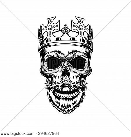 Skull Of Bearded Monarch Vector Illustration. Head Of Skeleton In Royal Crown With Gems And Christs.