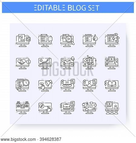 Blog Line Icons Set. Blogging Process, Internet Community, Content Management. Blogging And Broadcas