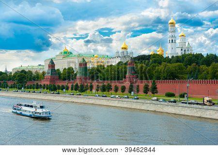 Kremlin in Moscow, Russia. View from Big Moskvoreckij bridge.