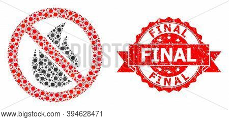 Vector Mosaic Forbidden Fire Of Flu Virus, And Final Unclean Ribbon Stamp Seal. Virus Elements Insid
