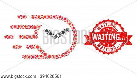 Vector Collage Clock Of Flu Virus, And Waiting... Grunge Ribbon Stamp Seal. Virus Cells Inside Clock
