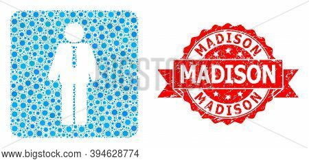 Vector Mosaic Groom Of Virus, And Madison Dirty Ribbon Stamp Seal. Virus Particles Inside Groom Mosa