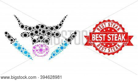 Vector Collage Cow Butchery Of Sars Virus, And Best Steak Rubber Ribbon Stamp Seal. Virus Items Insi