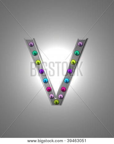 Alphabet Metal Marquee Vv