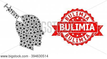 Vector Collage Head Injection Of Covid-2019 Virus, And Bulimia Dirty Ribbon Stamp Seal. Virus Items