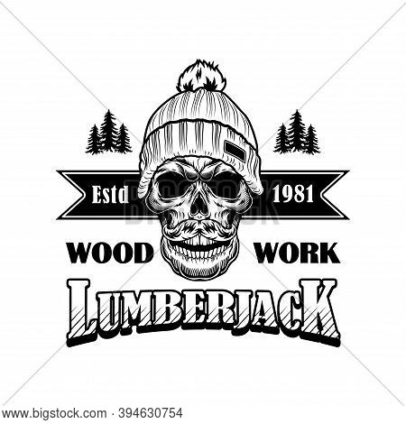 Woodcutter With Moustache Vector Illustration. Head Of Skeleton In Winter Hat, Woods And Lumberjack