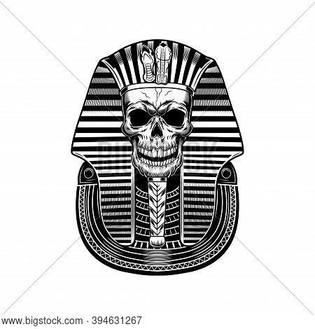 Pharaoh Skull Vector Illustration. Egyptian Mummy, Skeleton, Death Symbol. Ancient Egypt History And