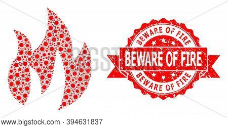 Vector Mosaic Fire Of Flu Virus, And Beware Of Fire Scratched Ribbon Stamp Seal. Virus Particles Ins