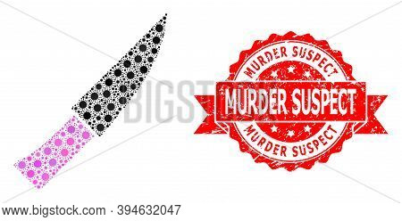Vector Collage Knife Of Covid-2019 Virus, And Murder Suspect Unclean Ribbon Stamp Seal. Virus Elemen