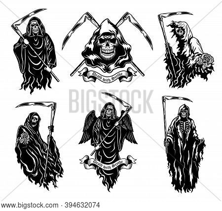 Death With Scythe Vector Illustrations Set. Skeleton In Black Hooded Gown Standing, Walking, Giving