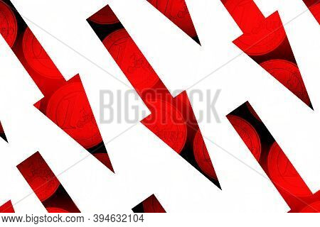 Red Arrows Down With One Euro Coins On White Background Concept Image Of Economic Crisis Or Downturn