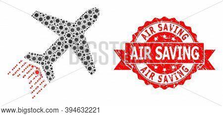 Vector Mosaic Jet Liner Of Sars Virus, And Air Saving Textured Ribbon Seal Imitation. Virus Particle