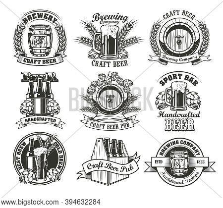 Beer Vector Illustrations Set. Bottles, Barrels, Pints, Glasses, Mugs, Boxes With Hops And Wheat Ear