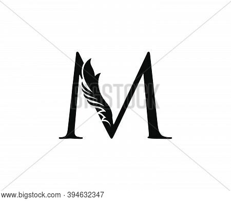 Classic M Letter Logo. Black Floral M With Classy Leaves Shape Design Perfect For Boutique, Jewelry,