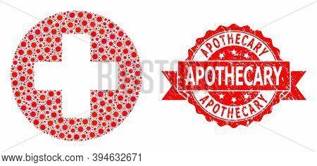 Vector Mosaic Medical Cross Of Covid-2019 Virus, And Apothecary Scratched Ribbon Seal Print. Virus I