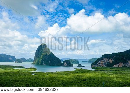 Samed Nang Chee On Mountain Landscape View Point At Phangnga Province. Beautiful Scene Of Seascape O