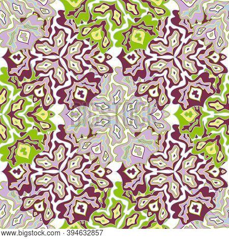 Vintage Floral Seamless Pattern In Bright Summer Positive Colors. Mandala Medallion Fluid Petals Orn