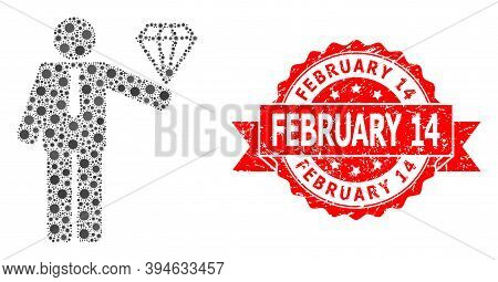 Vector Collage Groom Diamond Of Sars Virus, And February 14 Dirty Ribbon Stamp Seal. Virus Cells Ins