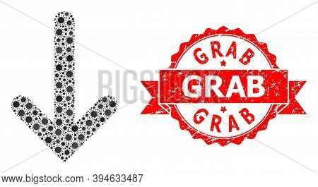 Vector Collage Down Arrow Of Corona Virus, And Grab Scratched Ribbon Seal Imitation. Virus Items Ins