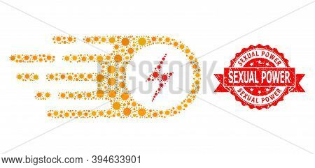 Vector Mosaic Electrical Strike Of Corona Virus, And Sexual Power Textured Ribbon Seal Print. Virus