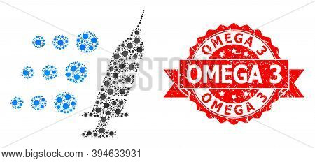 Vector Collage Fast Vaccine Of Corona Virus, And Omega 3 Corroded Ribbon Seal Print. Virus Elements