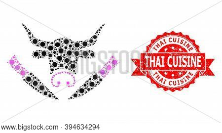 Vector Mosaic Cow Butchery Of Sars Virus, And Thai Cuisine Rubber Ribbon Seal Print. Virus Particles