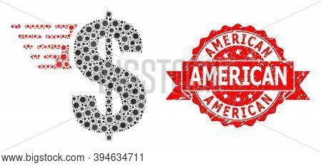 Vector Mosaic American Dollar Of Corona Virus, And American Unclean Ribbon Stamp Seal. Virus Element