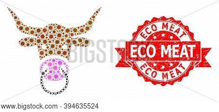 Vector Mosaic Bull Head Of Virus, And Eco Meat Rubber Ribbon Seal Imitation. Virus Items Inside Bull