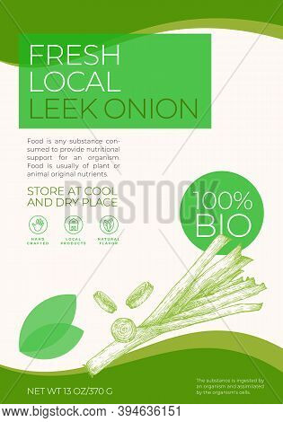 Fresh Local Vegetables Label Template. Abstract Vector Packaging Design Layout. Modern Typography Ba