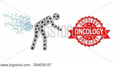 Vector Mosaic Farting Person Of Covid-2019 Virus, And Oncology Scratched Ribbon Stamp Seal. Virus It