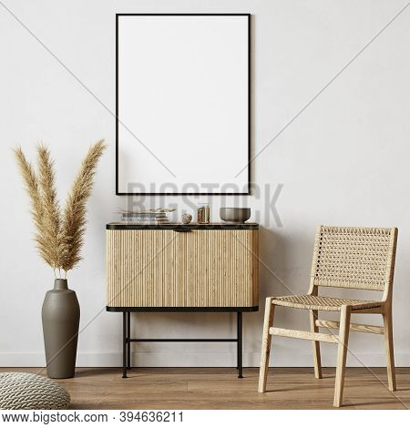 White Modern Interior With Dresser And Decor. 3d Render Illustration Background Mock Up.