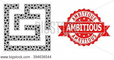 Vector Collage Labyrinth Of Flu Virus, And Ambitious Grunge Ribbon Stamp Seal. Virus Items Inside La
