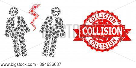 Vector Collage Businessmen Conflict Of Flu Virus, And Collision Grunge Ribbon Seal Print. Virus Cell