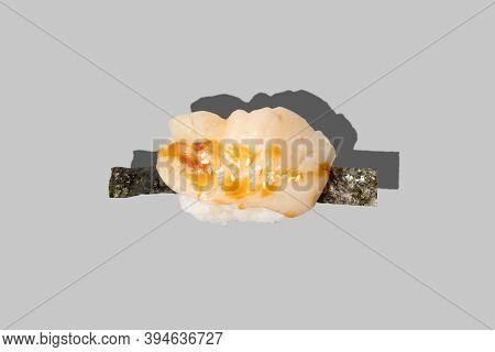 Scallop Nigiri Sashimi Sushi Isolated On Grey Background. Marinated Scallop With Unagi Sauce And Ses