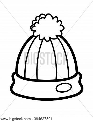 Winter Hat Linear Vector Illustration For Pictogram Or Logo. Knitted Hat With A Pompom - For Colorin