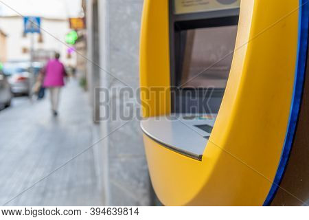 Campos, Balearic Islands/spain; November 2020: Detail Of An Atm Of A Spanish Private Bank. In The Ba