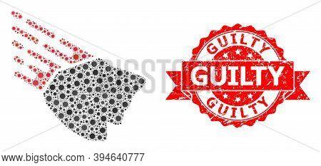 Vector Mosaic Falling Rock Stone Of Sars Virus, And Guilty Rubber Ribbon Stamp Seal. Virus Particles