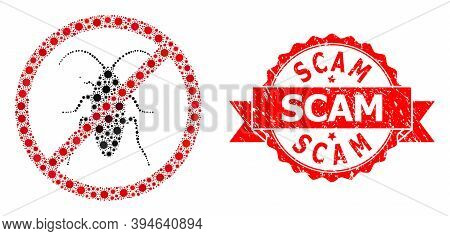 Vector Collage Forbidden Cockroach Of Virus, And Scam Grunge Ribbon Stamp Seal. Virus Cells Inside F