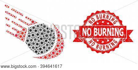 Vector Mosaic Meteor Of Corona Virus, And No Burning Grunge Ribbon Stamp Seal. Virus Cells Inside Me
