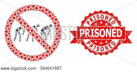 Vector Collage Forbidden Slavery Of Corona Virus, And Prisoned Corroded Ribbon Stamp Seal. Virus Ite