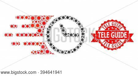 Vector Mosaic Clock Of Virus, And Tele Guide Scratched Ribbon Seal Imitation. Virus Cells Inside Clo